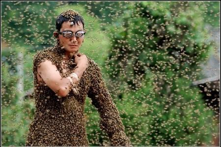 Пчелы на теле человека